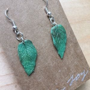 Mini Mint Leaf Earrings Clay with Mica Powder